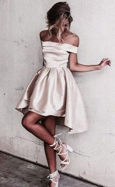 Sexy Off the Shoulder Light Champagne Prom Dress,Short Prom Dresses,Short Homecoming Dress,L88