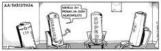 credits to Pertti Jarla. More like Alkaline-ic! Right guys? Puns, Peace, Comics, Word Games, Comic Book, Comic Books, Comic, Cartoon, Word Play
