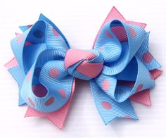 Budburst Kids polka dot hair bow - i like the 2 layer center knot Ribbon Art, Ribbon Hair Bows, Baby Hair Bows, Baby Headbands, How To Make A Ribbon Bow, Minnie Mouse Bow, Hair Bow Tutorial, Making Hair Bows, Diy Bow