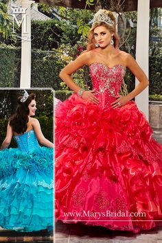 Strapless organza quinceanera ball gown featuring sweetheart neckline, tiered skirt with front split, re-embroidered lace, bead embellishment, lace-up back, and bolero. Available in Mangenta/Neon Pink, or Turquoise/Teal.