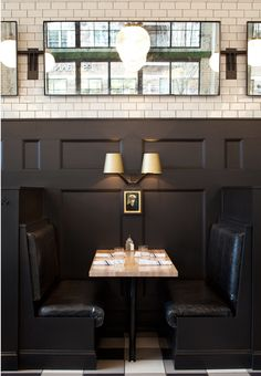 buffalo check tiling tartan tiles || The General Muir Restaurant in Atlanta, Georgia Designed by Square Feet Studio | Chris Loves Julia