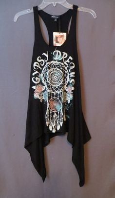 COWGIRL gYPSY dREAMS FEATHERS AZTEC TRIBAL Sharkbite Tank Top Shirt Western L #ABOUTAGIRL #TANK