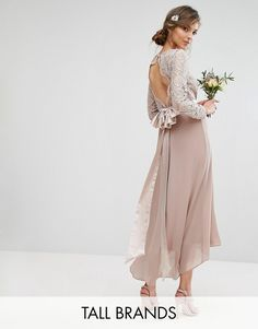 TFNC Tall Wedding Lace Midi Dress With Bow Back