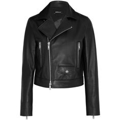 DKNY Leather biker jacket (4.540 RON) ❤ liked on Polyvore featuring outerwear, jackets, coats & jackets, biker jacket, dkny, black, genuine leather jacket, dkny jackets, asymmetrical zipper jacket and leather motorcycle jacket