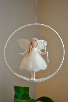 Birthday Gift /Nursery Mobile / Wall Hanging Fairy : White fairy with Crystal w…. Birthday Gift /Nursery Mobile / Wall Hanging Fairy : White fairy with Crystal w… – Wool Dolls, Felt Dolls, Felt Crafts, Diy And Crafts, Felt Angel, Felt Fairy, Flower Fairies, Fairy Dolls, Needle Felting