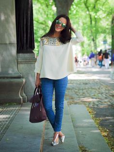 Rag and Bone jeans with an embroidered blouse from Paul and Joe and Zara silver pointed shoes