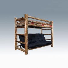 Amish-made Lodgepole Pine Log Twin over Futon bunk bed. #pine #log #twin #futon #bunk #bed #amish