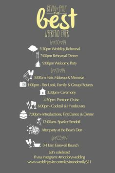Custom Simple Wedding Timeline Printable- DIY Printable- Wedding Timeline - Itinerary, Bridesmaids and Groomsmen