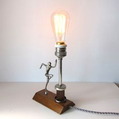 Reserved: RARE Vintage Art Deco Table light with by MyPetitVintage Vintage Lamps, Vintage Lighting, Vintage Wood, French Vintage, Vintage Art, Small Art, Light Table, Wood And Metal, Restoration