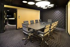 Furniture, : Beautiful And Cool Conference Room Decoration With Dark Grey Rectangular Tabletop Combine With Modern Wheeled Chairs Also Cool Ceiling Lighting Combine With Dark Wall And Floor
