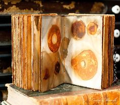 rusted pages in handmade book by Leslie Marsh of Snips and Snails and Puppy Dog Tails #mixed_media #handmade_books