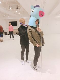 Seems like Jiminie really likes the Mang costume too hahahaha he probably wore it right after