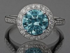 7.01 CARATS blue & white round diamonds engagement ring gold white 14K