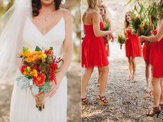 red bridesmaids bouquets // via ruffledblog.com