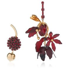 Marni     Asymmetrical Earrings with Horn in Red ($950) ❤ liked on Polyvore featuring jewelry, earrings, red, flower jewellery, horn jewelry, red jewellery, red earrings and flower jewelry