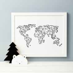 A beautiful nursery print featuring the world map in geometric form.Our drawing is a fun representation of the world, we can also print with Antarctica so please choose from the design you would prefe (Beauty Design Drawing) Nursery Design, Nursery Prints, Map Nursery, Graphisches Design, Presents For Kids, Geometric Art, Geometric Designs, String Art, Wall Art