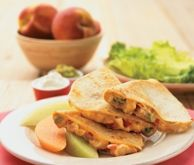 M & M Chicken Quesadillas with Grilled Peach Salsa - A hit for the whole family!
