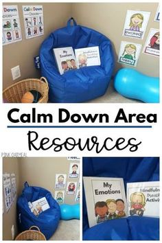 Calm Down Corner Resource Pack Calm down corner or calm down area resources. Everything that you need to set up a calming or brain break area in your classroom. Get calm down choices, exercise cards, yoga cards and beyond. Preschool Classroom Setup, Preschool Rooms, Classroom Behavior, Autism Classroom, New Classroom, Special Education Classroom, Classroom Setting, Preschool Set Up, Special Education Organization