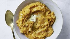 No white potatoes here! Just sweet potatoes and cauliflower mashed until silky and amped up with milk, butter, and a touch of nutmeg and cayenne.