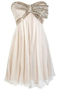 Cream and Gold Sequin Bow Chiffon Designer Dress by Minuet