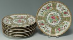 Lot 482: 9 Rose Medallion Dinner Plates. This lot was sold for $325 at our January 26, 2013 auction.