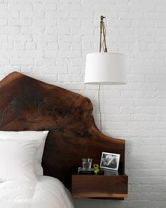 Wood slab headboard / Design by SchappacherWhite, photo by Jason Lindberg.