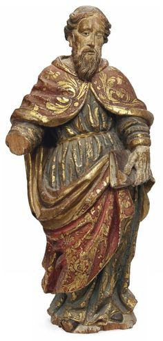 A Spanish Polychromed Wood Figure of a Saint - Late 17th / Early 18th Century.