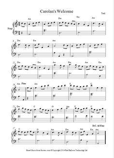 Turlough O Carolan - Carolan's Welcome sheet music for Harp Music Notes Art, Sheet Music Notes, Piano Sheet Music, Classical Piano Music, Irish Songs, Free Sheet Music, Potpourri, Ukulele, Welcome