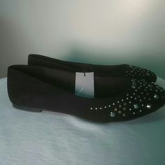 Lane Bryant Black studded ballet flats sz 10W New with tags Lane Bryant suede black studded ballet flats size 10 wide Lane Bryant Shoes Flats & Loafers