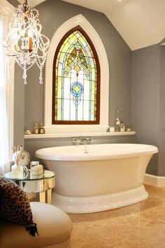 Traditional Bathroom with Stained glass window, Avon Acrylic Pedestal Tub, Chandelier, Freestanding Gothic Bathroom, Diy Bathroom, Glass Bathroom, Bathroom Designs, Master Bathroom, Gothic Mirror, Bathtub Designs, Small Bathroom, Dream Bathrooms