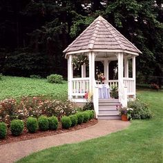 For new yards like this one with lots of open space to landscape, a gazebo offers a solution. The walkway and garden make this elegant 10-foot-wide structure look like it's always been there.