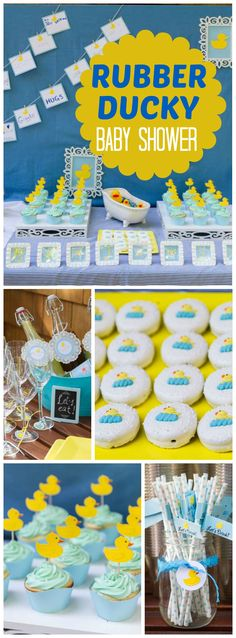 How fun is this rubber ducky baby shower? See more party ideas at CatchMyParty. How fun is this Baby Shower Decorations For Boys, Boy Baby Shower Themes, Baby Shower Gender Reveal, Baby Shower Cakes, Baby Shower Gifts, Ducky Baby Showers, Baby Shower Duck, Rubber Ducky Baby Shower, Rubber Ducky Birthday