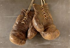 Vintage / Antique Leather Boxing Gloves by ThirdShift on Etsy - Collectible Man Cave or Sports Bar Decor!  #vintage #boxinggloves #thirdshift3 #thirdshiftvintage