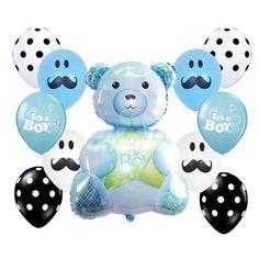 BabyShower Christening Supplies It's a Boy Blue Mustache Teddy Bear Foil Balloon #Anagram #BabyShower
