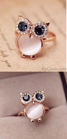 so so cute ring ! I like owl~ #Cute #Owl #Opal #Opening #Animal #Ring #accessories