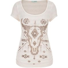 maurices Tee With Shimmering Cow Skull Graphic ($26) ❤ liked on Polyvore featuring tops, t-shirts, off white, floral tee, skull graphic tees, striped tee, floral top and floral t shirt