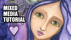 Portrait Mixed Media Painting Process - Art Journal Style - Texture Past...