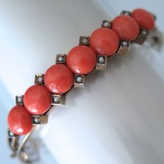 Antique Victorian Austro Hungarian Silver Pink Coral Bead Seed Pearl Bracelet | eBay