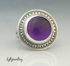 Silver Amethyst Ring Statement Ring Sterling Silver