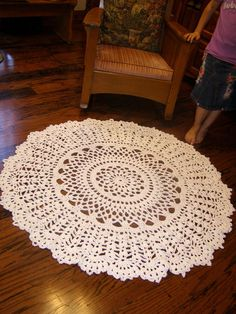 Giant 60 inch Crochet Rug White Cotton Doily Rug. $125.00, via Etsy.