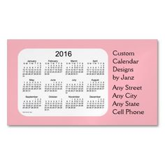 2016 Baby Pink Business Calendar by Janz Magnetic Business Cards (Pack Of 25)