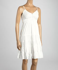 Take a look at the Coline USA White Eyelet Empire-Waist Dress - Women on #zulily today!