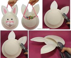Ostergeschenke mit Kindern basteln - 19 süße Ideen und Inspirationen Easter gifts with children tinker ideas paper plate candy bag hare Diys Easy Easter Crafts, Bunny Crafts, Easter Art, Easter Projects, Easter Crafts For Kids, Easter Bunny, Kids Diy, Happy Easter, Easter Eggs