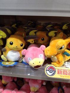 Pokemon Photos from Tokyo - Raichu Slowpoke Charizard Pokedoll at Pokemon Center Tokyo