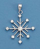 """""""5/2.75mm Cubic Zirconia CZ Rhodium Plated Sterling Silver Pendant, 1-1/4 inch, 8 Point Snowflake""""http://www.silvermessages.com/sterlingsilverjewelry/category/christmas.html"""