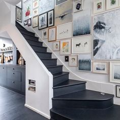 Beautiful gallery wall in the hallway and dark painted stairs. Beautiful gallery wall in the hallway and dark painted stairs. Stair Art, Stair Walls, Carpet Stairs, Stair Wall Decor, Entryway Decor, Gallery Wall Staircase, Staircase Design, Gallery Walls, Art Gallery