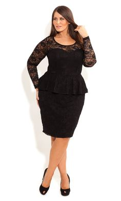 City Chic - LACE PEPLUM DRESS WITH SLEEVE - Women's plus size fashion