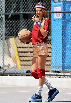 Miranda Kerr rocked a sporty ensemble while playing basketball during a Vogue photo shoot