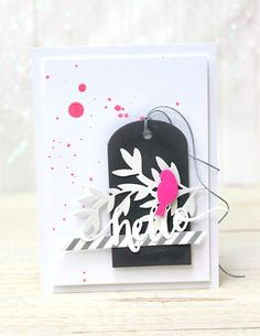card with scripty words & letters, scripty hello Birds & Branches Frame and Foliage Frame dies. Hand Letter Hello and Timeless Tags 2 dies. Bird On Branch, Card Making Inspiration, Clear Stamps, Stampin Up Cards, Decor Crafts, Cardmaking, Hand Lettering, Projects To Try, Greeting Cards