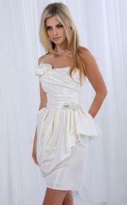 Sheath/ Column Top-knee-length Satin Beading Ruched Little White Dress